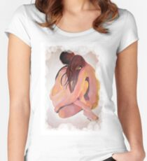 Intimate Couple Hugging and Staying In Touch  Women's Fitted Scoop T-Shirt
