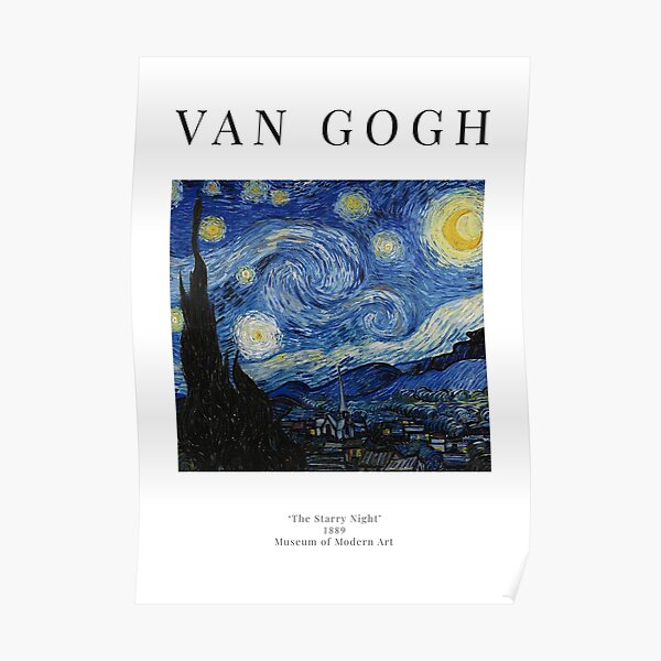 The Starry Night - Vincent Van Gogh - Exhibition Poster Poster