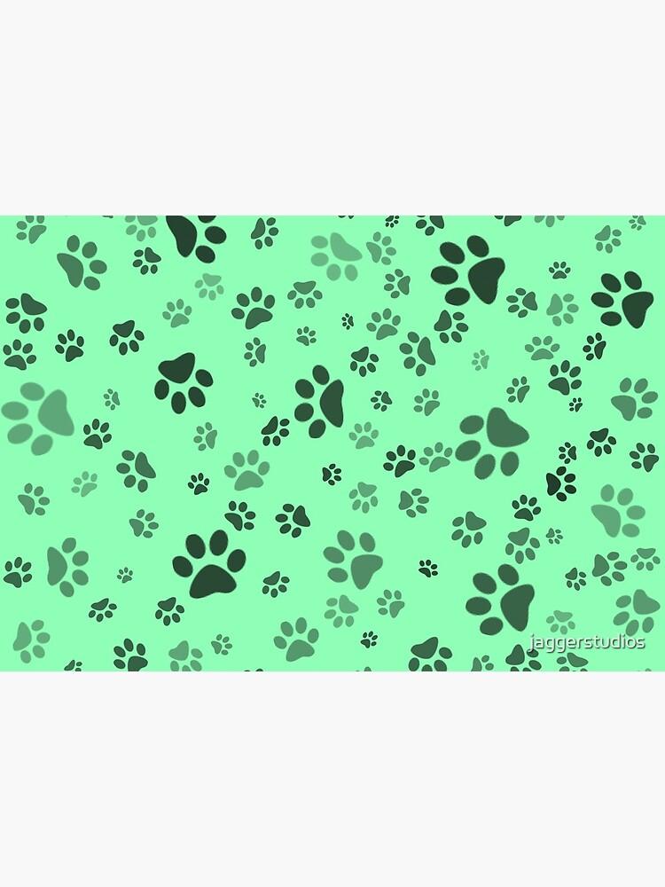 Mint Paw Print Pattern by jaggerstudios