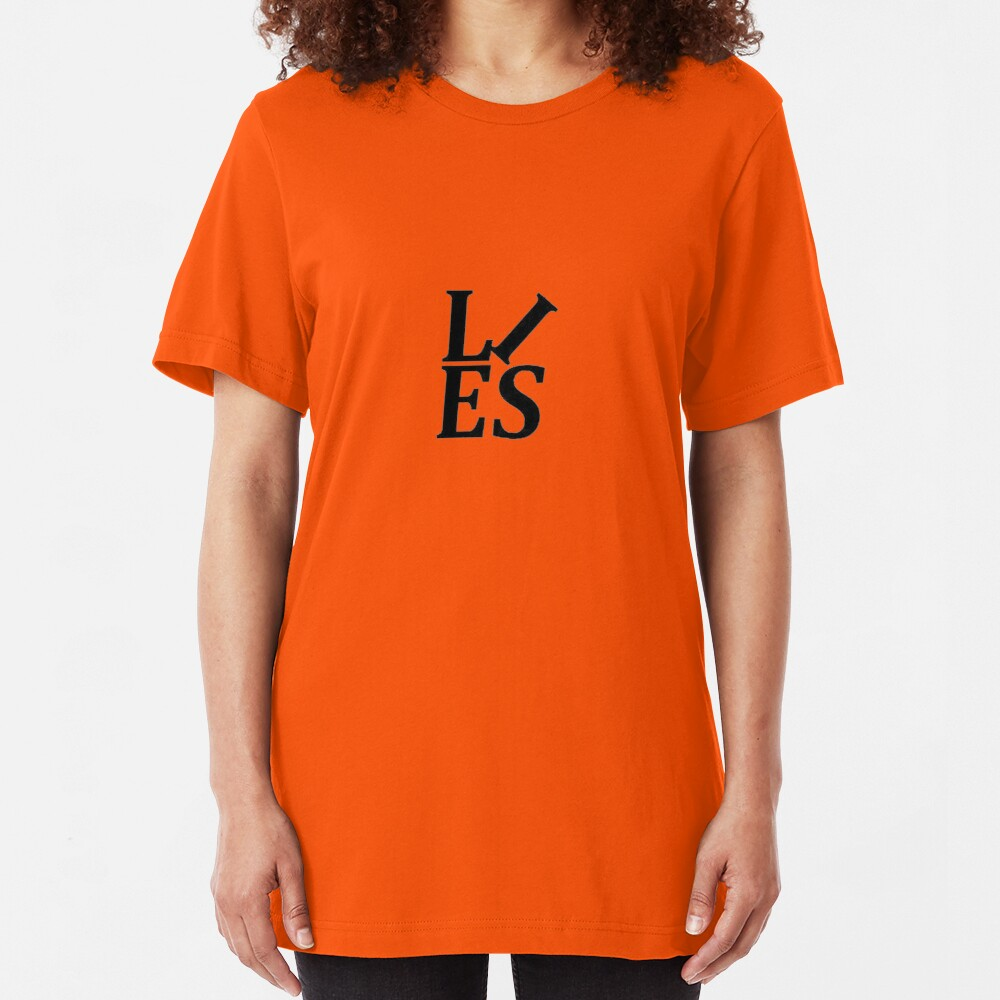 LIES Text Parody of the Love Statue Slim Fit T-Shirt