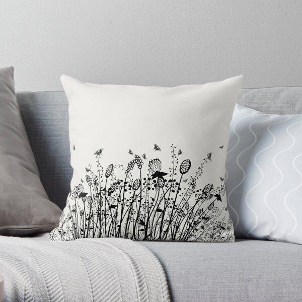 Summer Flowers Linocut Black Throw Pillow