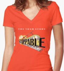 STOPPABLE - the tram story Women's Fitted V-Neck T-Shirt