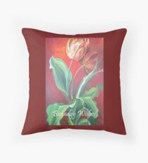Birthday Wishes Red and Yellow Tulips Throw Pillow
