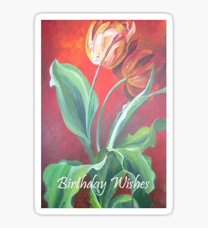 Birthday Wishes Red and Yellow Tulips Sticker