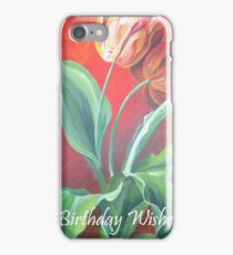 Birthday Wishes Red and Yellow Tulips iPhone Case/Skin