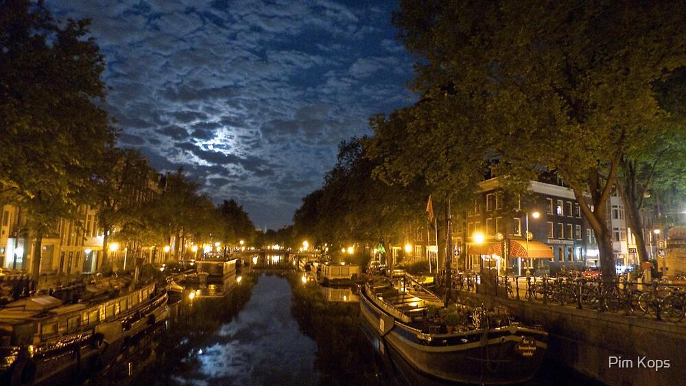 Prinsengracht in full moon light by Pim Kops