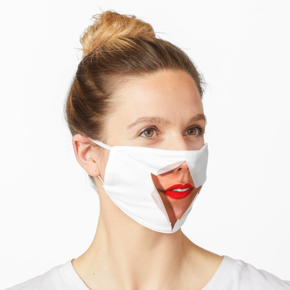 Red Lips Ripped Mask