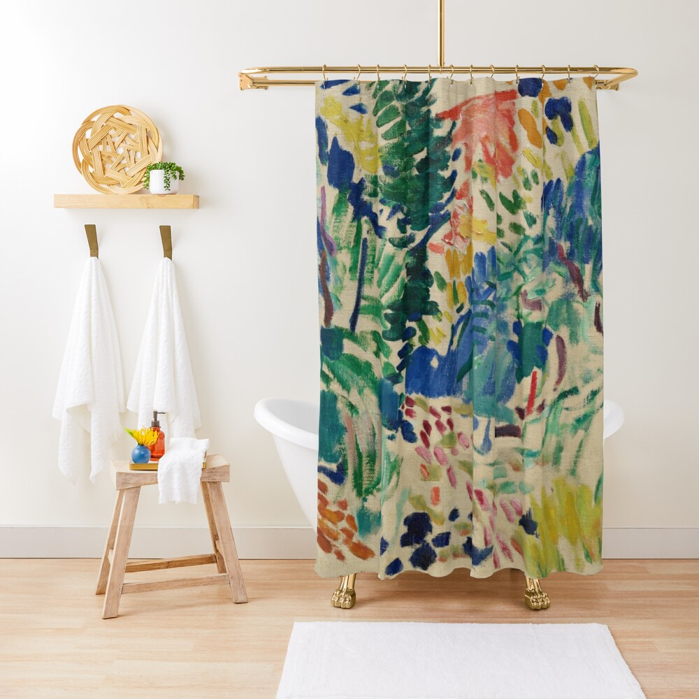 Henri Matisse - Landscape At Collioure - Exhibition Poster Shower Curtain