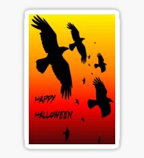 Happy Halloween Murder of Crows Against Sunset Sticker