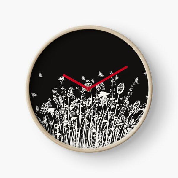 Summer Flowers Linocut White Clock