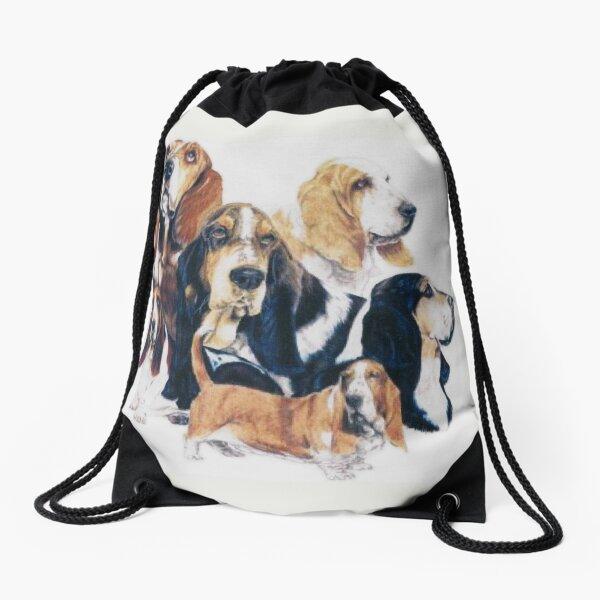 Basset Hound Montage Drawstring Bag