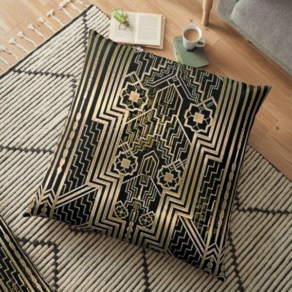 Art Nouveau,gold,black,art deco,vintage,victorian,belle époque,metallic design,bronze,chic,elegant, Floor Pillow