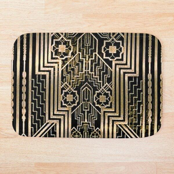 Art Nouveau,gold,black,art deco,vintage,victorian,belle époque,metallic design,bronze,chic,elegant, Bath Mat