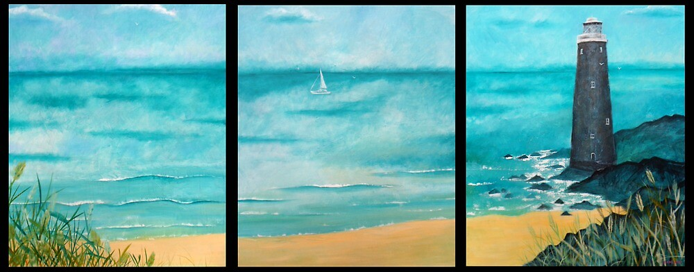 The Lighthouse Triptych in Acrylics by Emily King