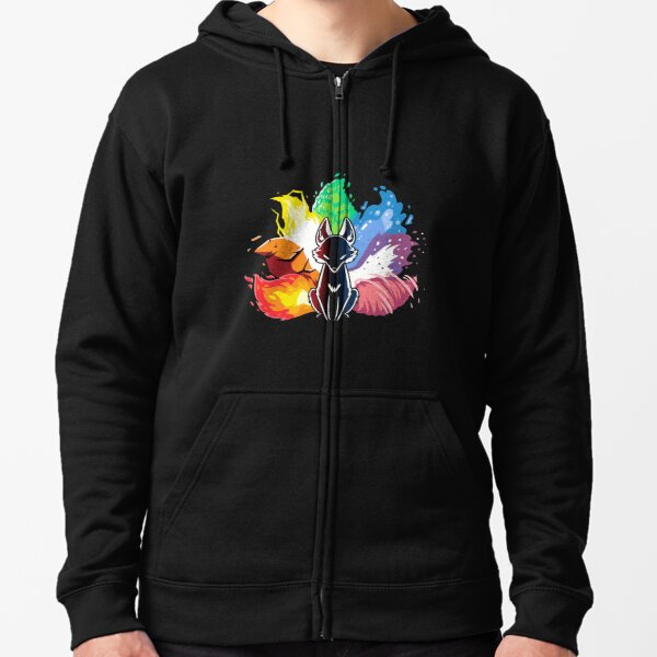 Kitsune Nine Tail fox Zipped Hoodie