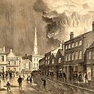 Historic lithograph of a mill fire in Trowbridge, 1862 by Trowbridge  Museum