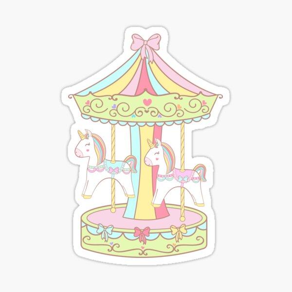 Carnival Carousel Unicorn Sticker