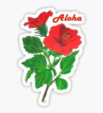 A Tropical Red Hibiscus Flower with Aloha Text Sticker