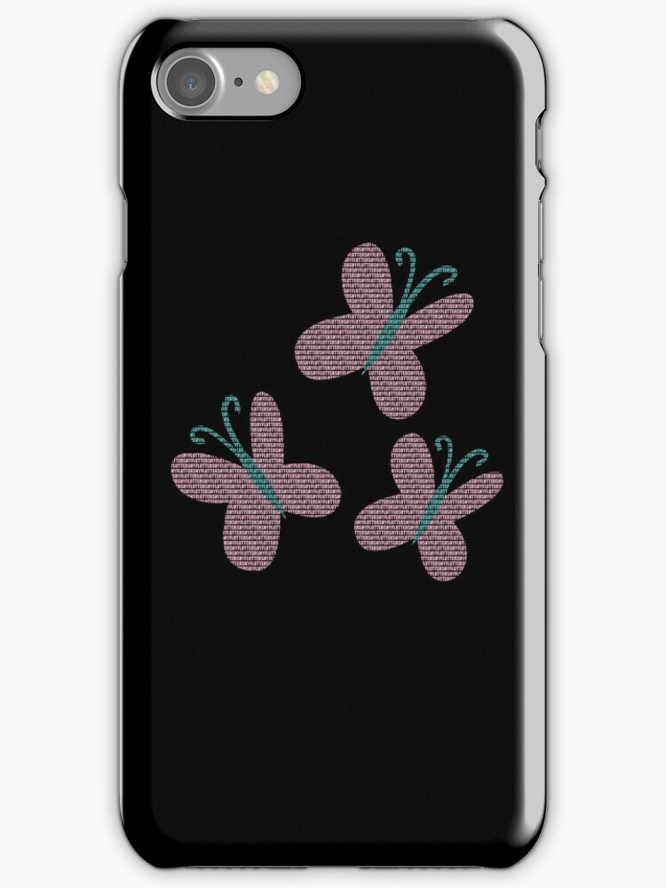 Fluttershy Text Black iPhone Cover by Alessandro Ionni
