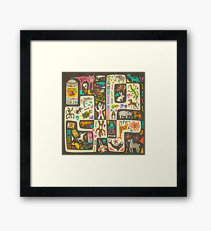 IMAGINE THERE'S NO HEAVEN (things you cant eat if you're muslim or jewish) Disco Party Mix Framed Print