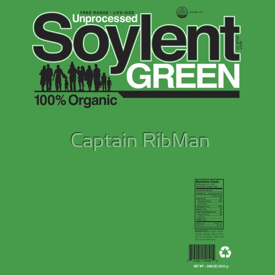 TShirtGifter presents: Contents: Unprocessed Soylent Green (on Green)