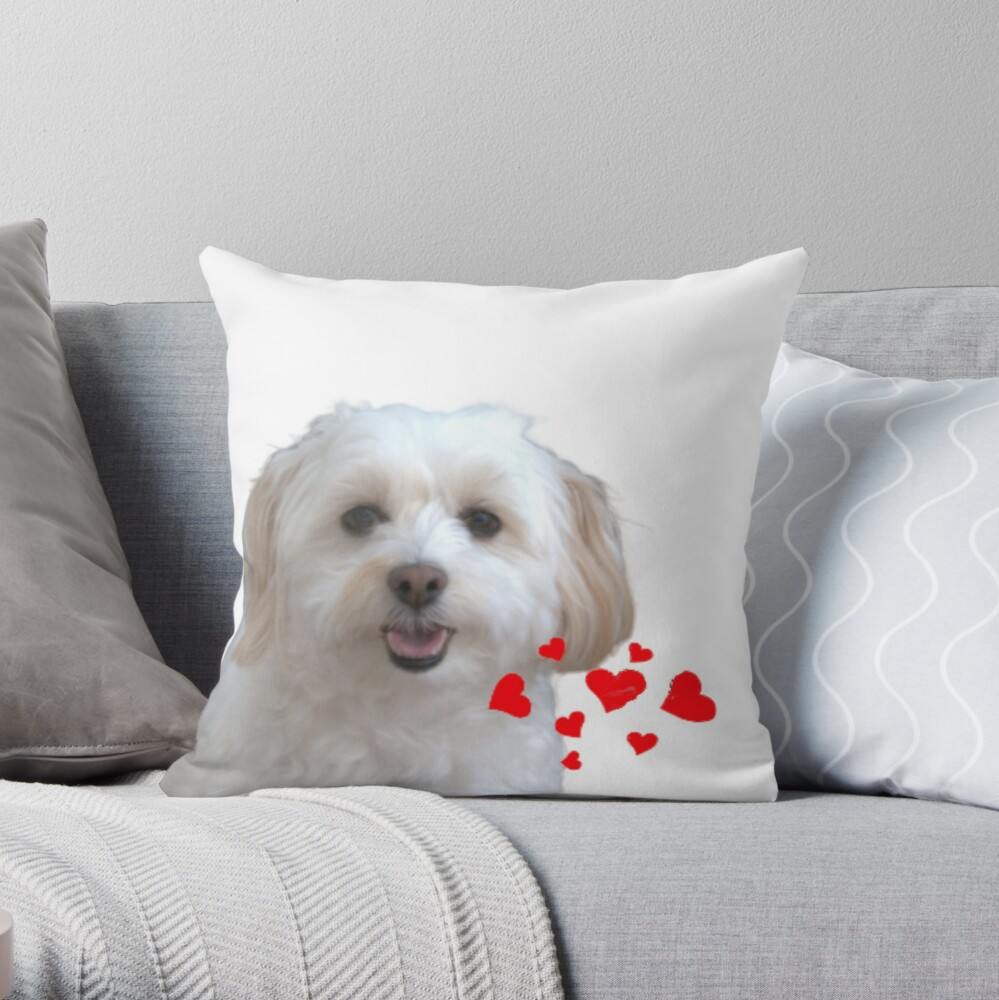 """Cuddly Coton de Tulear """"Silly Lily"""" cute puppy Throw Pillow"""