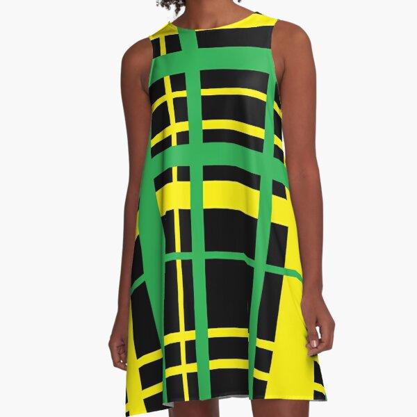 Jamaican Tartan Plaid  A-Line Dress