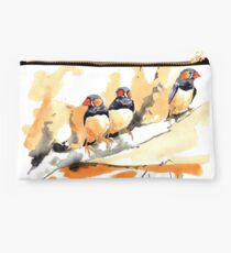 Zebra Finches on a branch Studio Pouch