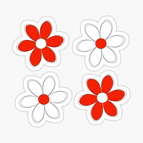 Red and White Flowers - School Colors Sticker