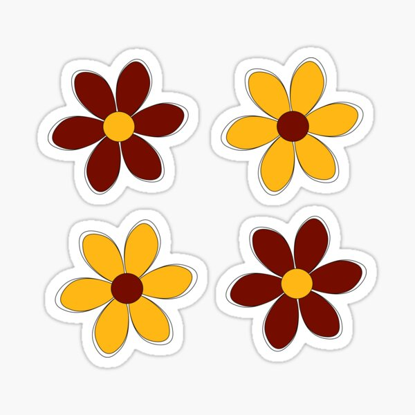 Maroon and Gold Flowers - School Colors Sticker