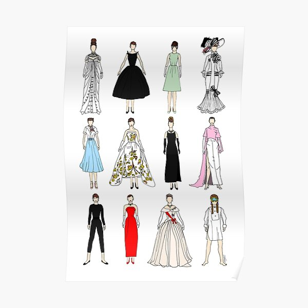 Outfits of Audrey Fashion Poster