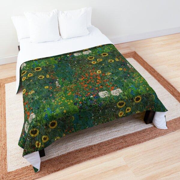 Farm Garden with Flowers - Klimt Artsy Sticker Comforter