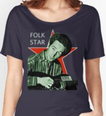 Woody Guthrie, Folk Star (Lg) Women's Relaxed Fit T-Shirt