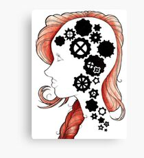 Gears and Cogs Girl Canvas Print