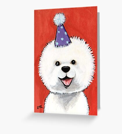 Party Bichon Frise Greeting Card