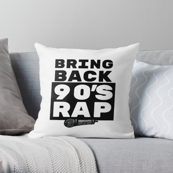 Rap / Hip Hop Gift - 90s Rapper Lover Art - Rap Music with Microphone Illustration Throw Pillow