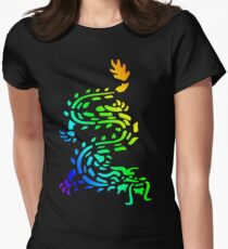 Oriental Dragon Colourful Design Women's Fitted T-Shirt