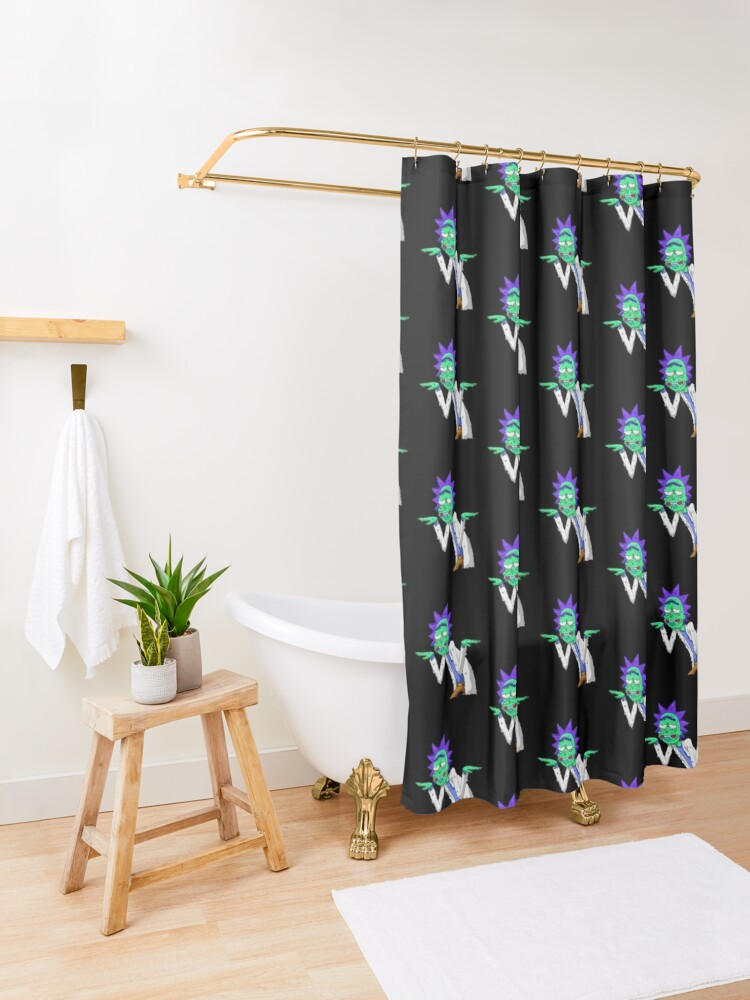 Alternate view of Copy of rick and morty get schwifty Shower Curtain