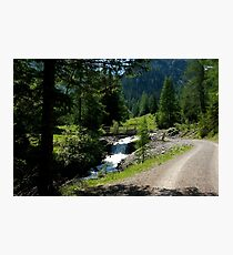Path along the mountain stream Photographic Print