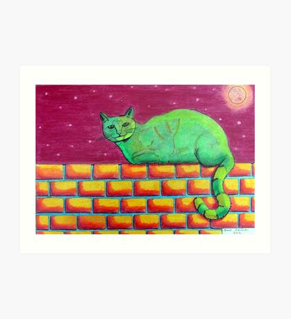354 - GREEN CAT ON A WALL - DAVE EDWARDS - COLOURED PENCILS - 2012 Art Print