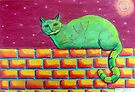 354 - GREEN CAT ON A WALL - DAVE EDWARDS - COLOURED PENCILS - 2012 by BLYTHART