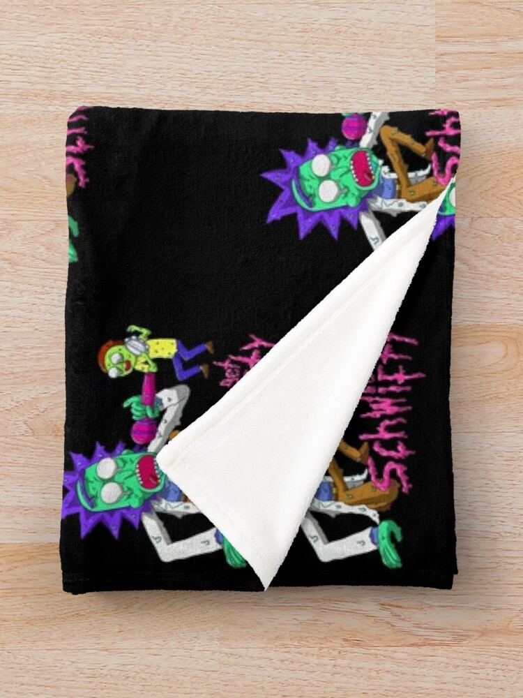 Alternate view of rick and morty get schwifty Throw Blanket