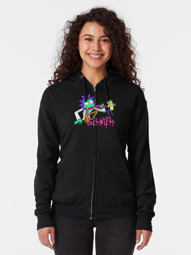 Alternate view of rick and morty get schwifty Zipped Hoodie
