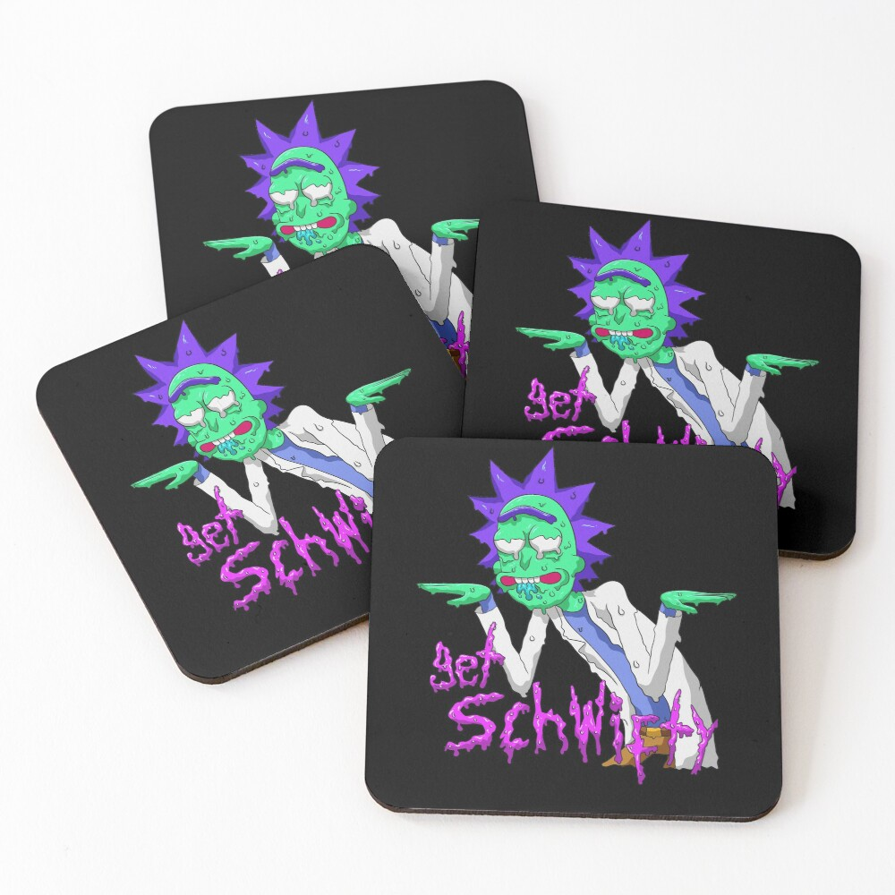 rick and morty get schwifty Coasters (Set of 4)