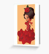 Flamenco cartoon chibi kawaii girl Greeting Card