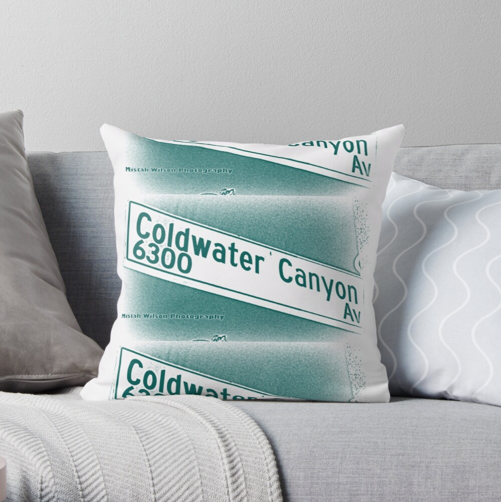 Coldwater Canyon Avenue, SFV, Los Angeles WATERY by Mistah Wilson Throw Pillow