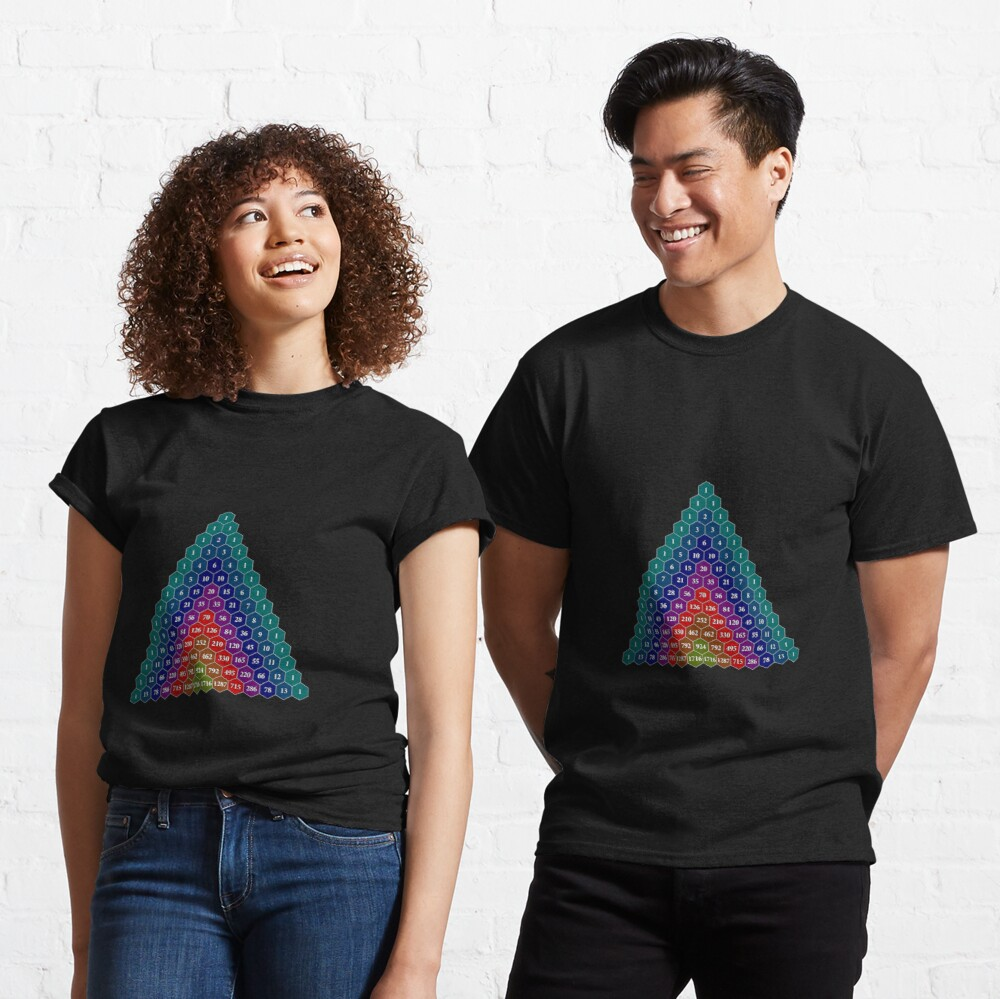 Pascal's triangle. Each number is the sum of the two numbers directly above it Classic T-Shirt