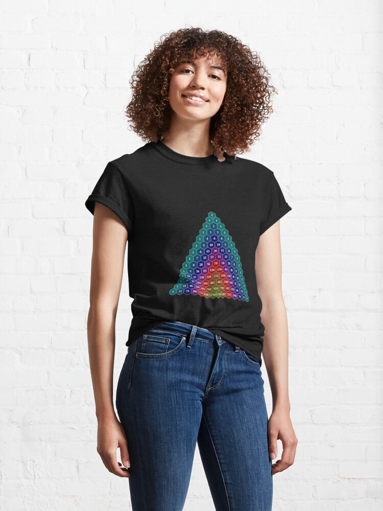 Alternate view of Pascal's triangle. Each number is the sum of the two numbers directly above it Classic T-Shirt