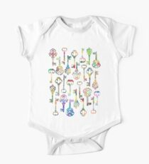 Rainbow Skeleton Keys Pattern One Piece - Short Sleeve