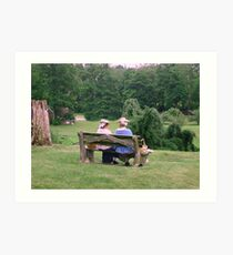 Re-enactors ar Ringwood Manor - Colonial women resting and chatting Art Print